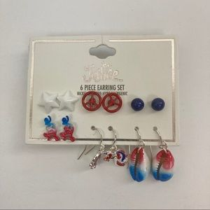 New Justice Red White And Blue 6 pc Earing Set